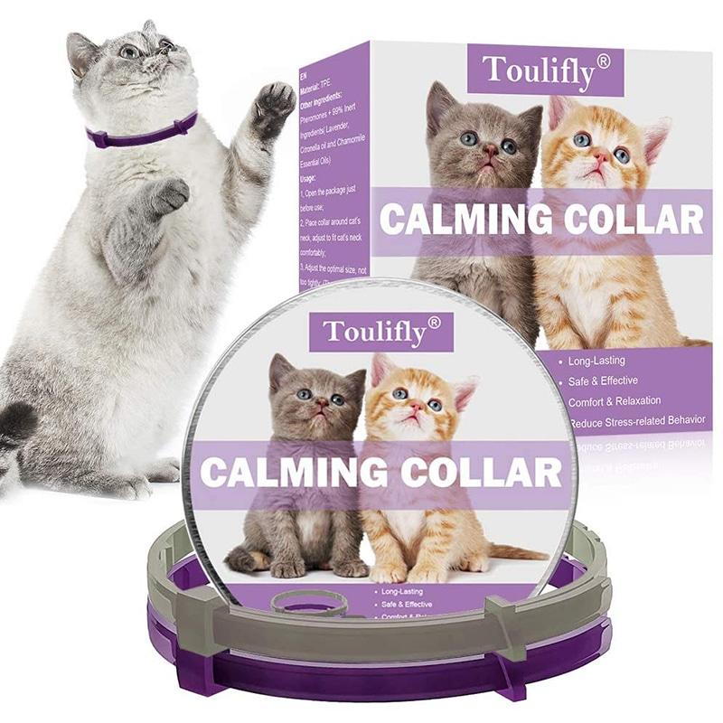 Collar calmante para gatos ajustable, alivia la ansiedad 8 semanas