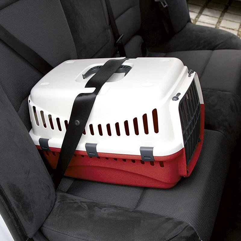 Transportín de plástico, CremaBurdeos, 45 x 30x 30 cm